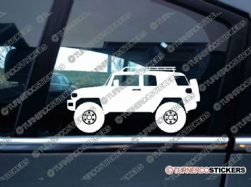 2x Lifted Toyota FJ Cruiser offroad 4x4 silhouette stickers